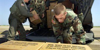 Soldier Loading MREs