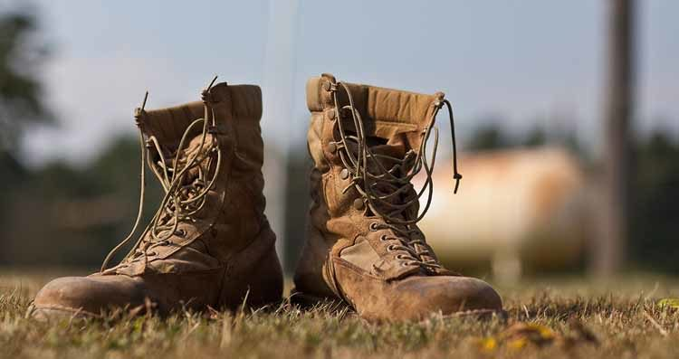 Old worn out tactical combat boots 2