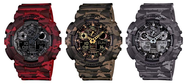Casio G-Shock GA-100CM Camouflage Series Red Brown And Gray