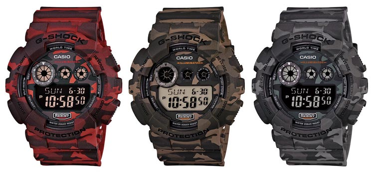 Casio G-Shock GD120CM Camouflage Series Red Brown and Gray