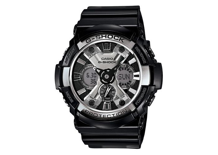 G-Shock GA-200BW-1ACR Glossy Black and Chrome Silver