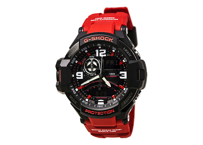 G-Shock GA1000-4B Black Red Dial