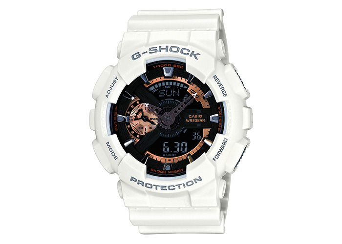 G-Shock GA-110RG-7ACR White with Rose Gold Accents